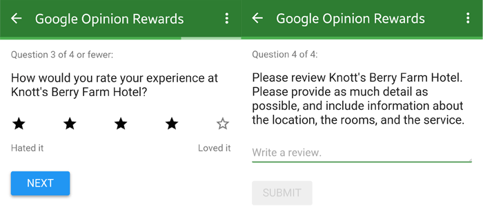 Google Rewards Review Sample