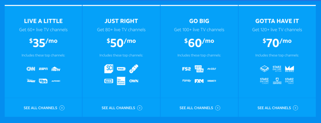 Direct TV Now Channel Packages